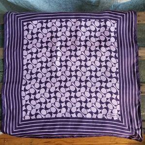 Coach Purple/Lavender 21x21 Silk Logo Scarf